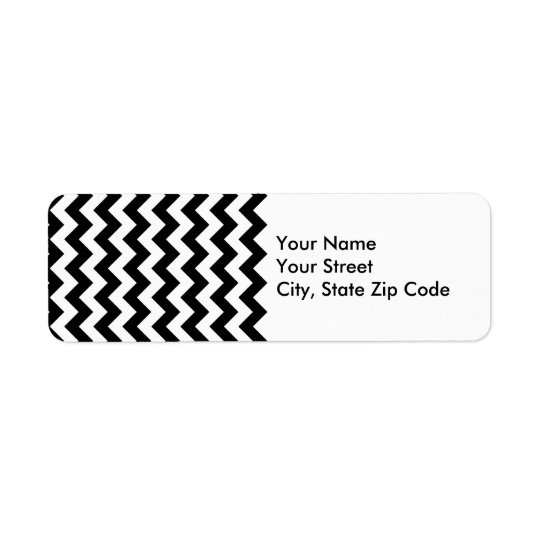 Black and White Zigzag return address label