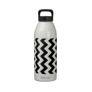 Black and White Zigzag Reusable Water Bottle