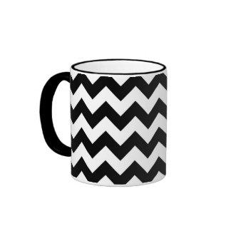 Black and White Zigzag Ringer Coffee Mug