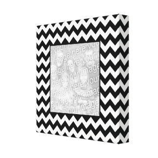 Black and White Zigzag Square Border Photo Canvas Print