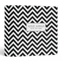 Black and White Zigzag Stripes Chevron Pattern 3 Ring Binder
