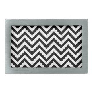 Black and White Zigzag Stripes Chevron Pattern Belt Buckle