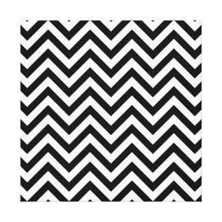 Black and White Zigzag Stripes Chevron Pattern Canvas Print