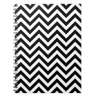 Black and White Zigzag Stripes Chevron Pattern Notebook