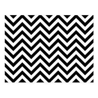 Black and White Zigzag Stripes Chevron Pattern Postcard