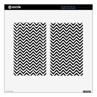 Black and White Zigzag Stripes Chevron Pattern Skin For Kindle Fire