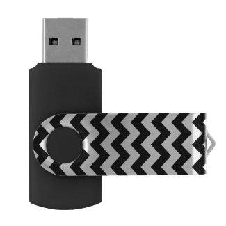 Black and White Zigzag Swivel USB 3.0 Flash Drive