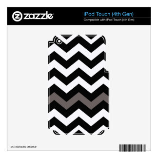 Black and White Zigzag With Gray Striped Skins For iPod Touch 4G