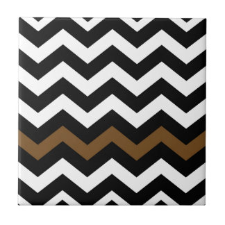 Black and White Zigzags With Brown Striped Ceramic Tile