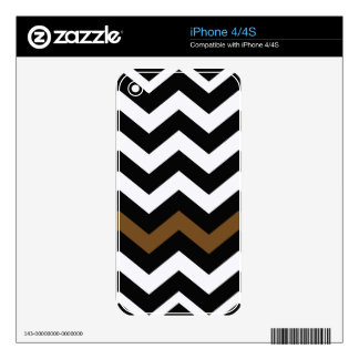 Black and White Zigzags With Brown Striped Decal For iPhone 4