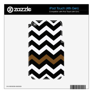 Black and White Zigzags With Brown Striped Skins For iPod Touch 4G