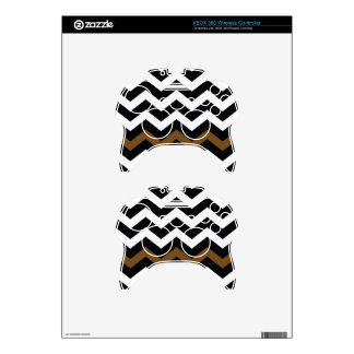 Black and White Zigzags With Brown Striped Xbox 360 Controller Decal