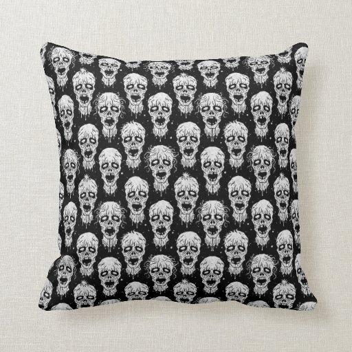 Black and White Zombie Apocalypse Pattern Throw Pillows