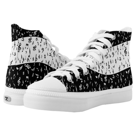Black and whitemusic themed High-Top sneakers