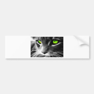 Black and Whiten Cat Face with Green eyes Bumper Stickers