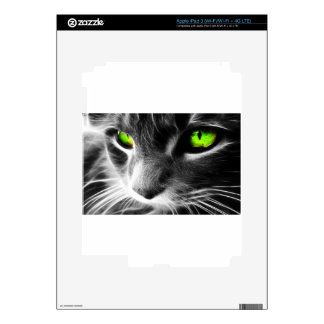 Black and Whiten Cat Face with Green eyes Skins For iPad 3