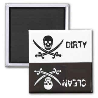 BLACK AND WHITESKULL CROSSED SWORDS DIRTY CLEAN MAGNET