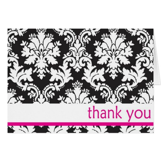 black and whte damask with hot pink thank you card