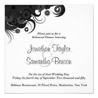 Black and Whtie Wedding Rehearsal Dinner Invites