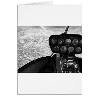 Black and wihte photograph of a helicopter card