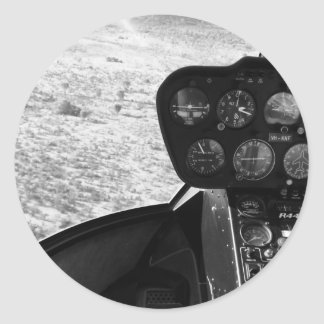 Black and wihte photograph of a helicopter classic round sticker