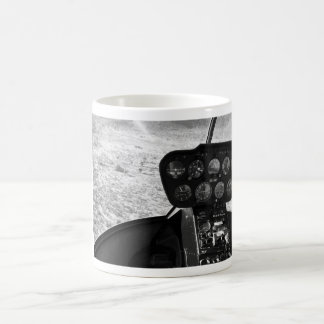 Black and wihte photograph of a helicopter coffee mug