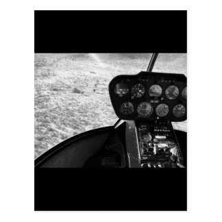 Black and wihte photograph of a helicopter postcard