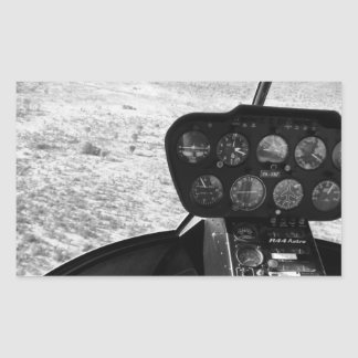 Black and wihte photograph of a helicopter rectangular sticker