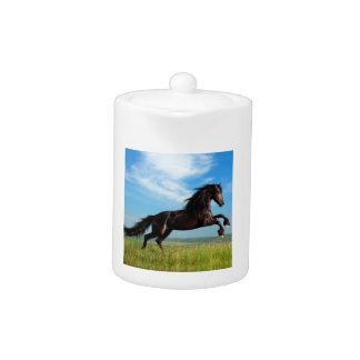 black and wild Stallion Rearing Horse Teapot