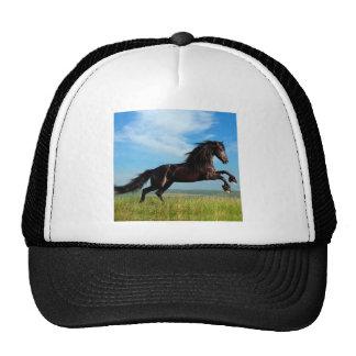 black and wild Stallion Rearing Horse Trucker Hat