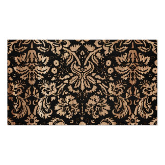 Black and Wood Damask Business Card