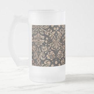 Black and Wood Damask Frosted Glass Beer Mug