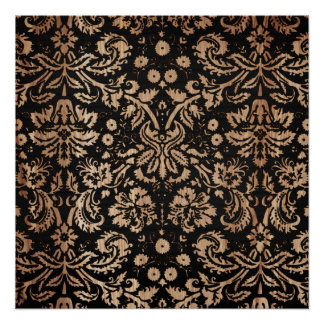 Black and Wood Damask Poster