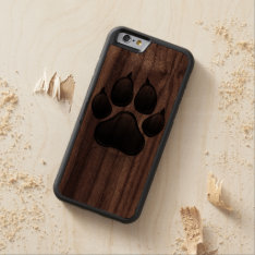 Black And Wood Dog Paw Print Wood Iphone 6 Case at Zazzle