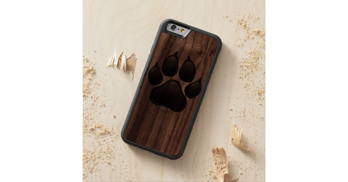 Black and wood dog paw print iphone case zazzle