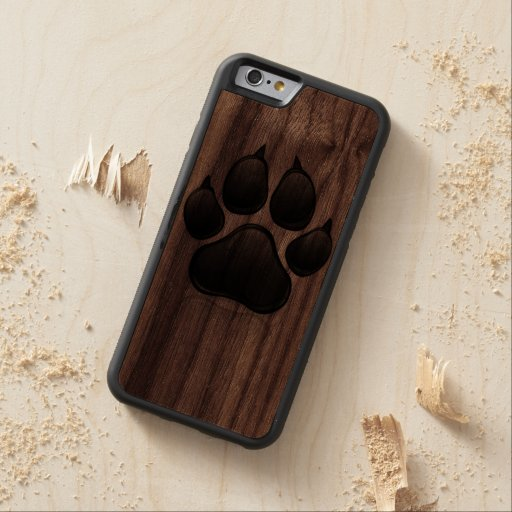 Black and Wood Dog Paw Print Wood iphone 6 Case Carved® Cherry iPhone 6 Bumper