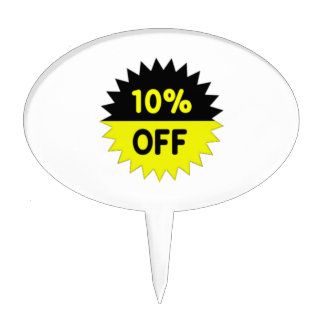 Black and Yellow 10 Percent Off Cake Toppers