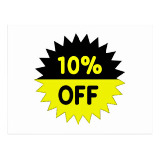 Black and Yellow 10 Percent Off Postcard