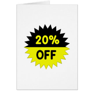 Black and Yellow 20 Percent Off Card