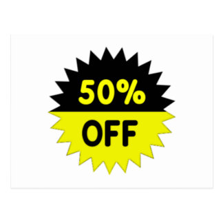 Black and Yellow 50 Percent Off Postcard