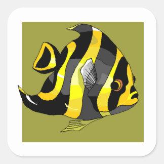 Black And Yellow Angel Fish Sticker