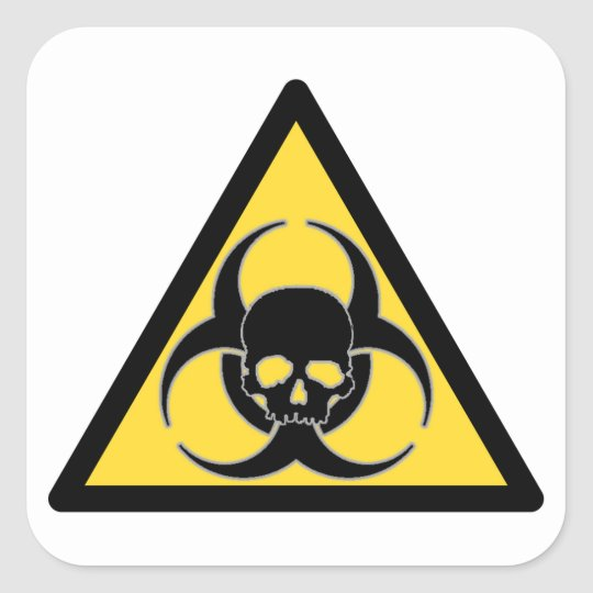 Black and yellow biohazard symbol and skull square sticker