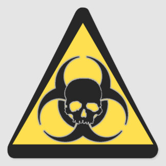 Black and yellow Biohazard symbol and skull Triangle Sticker