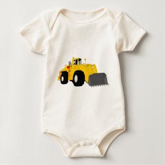 Black and Yellow Bulldozer Construction Machine Baby Bodysuit