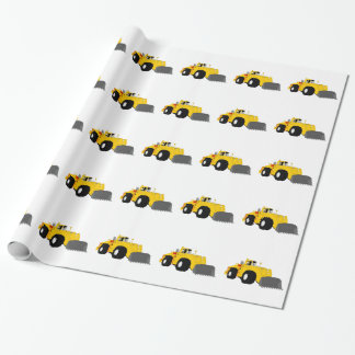 Black and Yellow Bulldozer Construction Machine Wrapping Paper