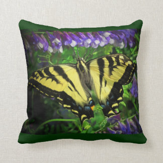 Black and Yellow Butterfly Blue Flowers Throw Pillow
