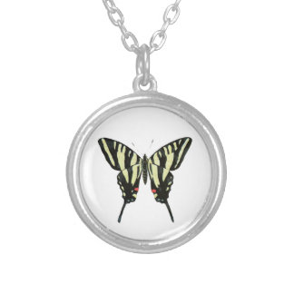 Black And Yellow Butterfly Round Pendant Necklace