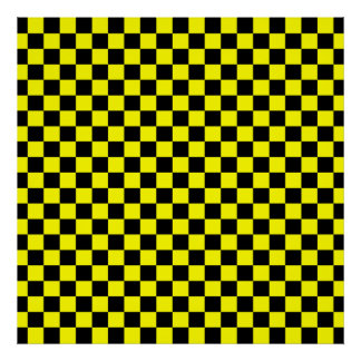 Black and Yellow Checkerboard Pattern Poster