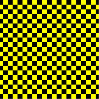 Black and Yellow Checkerboard Pattern Statuette