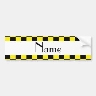 Black and yellow checkered pattern bumper sticker